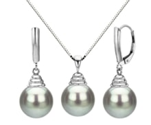 SET OF TAHITIAN PEARLS, WHITE GOLD - PEARL SETS - PEARLS