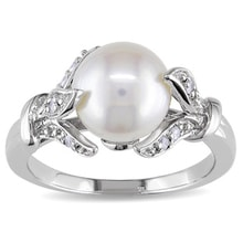 SILVER RING WITH FRESHWATER PEARL AND DIAMONDS - PEARL RINGS - PEARLS