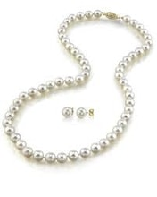 Pearl necklace with earrings, 14K gold - Akoya Pearls Jewellery