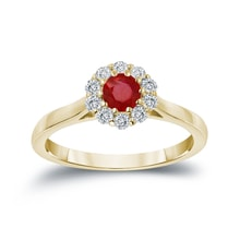 A GOLD RING WITH A RUBY ​​AND DIAMONDS - HALO ENGAGEMENT RINGS - ENGAGEMENT RINGS WITH GEMSTONES