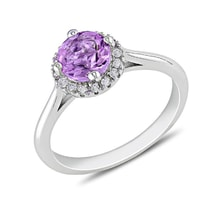 Sterling silver ring with amethysts and diamonds - Halo engagement rings
