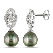 PEARL EARRINGS WITH DIAMONDS - TAHITIAN PEARLS - PEARLS