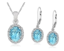 EARRINGS AND PENDANT IN SILVER WITH BLUE TOPAZ - EARRING SETS - EARRINGS