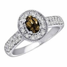 GOLDEN RING WITH SMOKY QUARTZ AND DIAMONDS - WHITE GOLD RINGS - RINGS