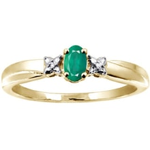 GOLD-PLATED DIAMOND RING SILVER - EMERALD RINGS - RINGS