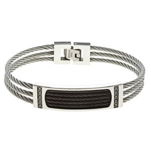 MEN'S BRACELET MADE OF STAINLESS STEEL WITH DIAMONDS - JEWELLERY SALE