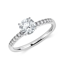 CZ engagement ring in 14kt gold - White Gold Rings