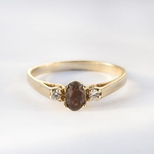 Gold ring with smoky quartz and CZ stones - Jewellery Sale