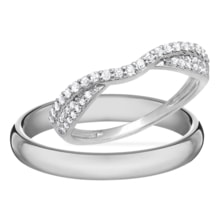 DIAMOND RING IN WHITE GOLD - DIAMOND WEDDING RINGS - WEDDING RINGS WITH GEMSTONES