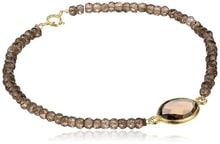 Gold-plated bracelet with smoky quartz. - Jewellery Sale