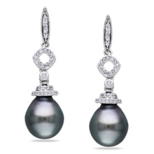 TAHITIAN PEARL EARRINGS WITH DIAMONDS - PEARL EARRINGS - PEARLS