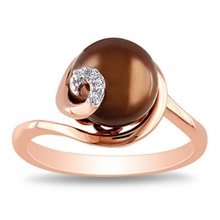 THE RING OF PINK GOLD WITH PEARL AND DIAMONDS - PEARL RINGS - PEARLS