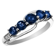 GOLDEN RING WITH SAPPHIRES 0.87 KT - SAPPHIRE RINGS - RINGS