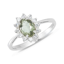 STERLING SILVER RING WITH MOLDAVITE AND CZ STONES - STERLING SILVER RINGS - RINGS