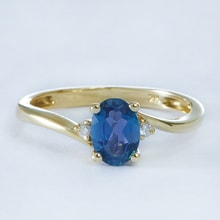 RING WITH TOPAZ AND DIAMONDS - TOPAZ RINGS - RINGS