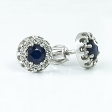 GOLD EARRINGS WITH SAPPHIRES AND DIAMONDS - WHITE GOLD EARRINGS - EARRINGS
