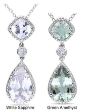 SILVER PENDANT WITH GREEN AMETHYST AND WHITE SAPPHIRE - AMETHYST PENDANTS - PENDANTS