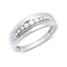 MEN'S STERLING SILVER ANNIVERSARY RING WITH DIAMONDS - MEN RINGS - RINGS