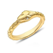 GOLD-PLATED SILVER RING, DIAMONDS - DIAMOND RINGS - RINGS