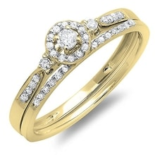 SET OF GOLD RINGS WITH DIAMONDS - DIAMOND RINGS - RINGS