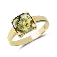 Moldavite 14kt gold ring - Engagement Gemstone Rings