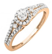 ENGAGEMENT RING IN ROSE GOLD WITH DIAMONDS - DIAMOND ENGAGEMENT RINGS - ENGAGEMENT RINGS WITH GEMSTONES