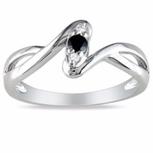SILVER RING WITH DIAMONDS - STERLING SILVER RINGS - RINGS