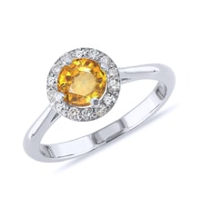 Citrine and diamond ring in sterling silver - Engagement Halo Rings