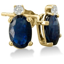 GOLD EARRINGS WITH SAPPHIRES AND DIAMONDS - SAPPHIRE EARRINGS - EARRINGS