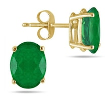 EMERALD EARRINGS, YELLOW GOLD - EMERALD EARRINGS - EARRINGS