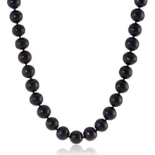 CLASSIC NECKLACE MADE OF BLACK PEARLS - PEARL NECKLACE - PEARLS
