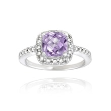 AMETHYST RING WITH DIAMOND, SILVER - AMETHYST RINGS - RINGS