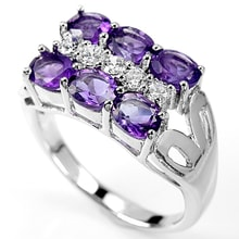 AMETHYST RING WITH CUBIC ZIRCONIA MADE OF SILVER - JEWELLERY SALE