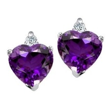 GOLDEN EARRINGS WITH DIAMONDS AND AMETHYST - AMETHYST EARRINGS - EARRINGS