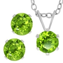 SET EARRINGS AND NECKLACE WITH PERIDOT IN SILVER - EARRING SETS - EARRINGS