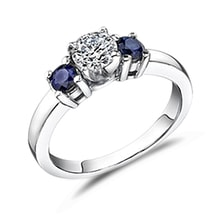 Blue sapphire and diamond ring in 14kt gold - Engagement Gemstone Rings