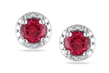 SILVER EARRINGS WITH SYNTHETIC RUBY - STERLING SILVER EARRINGS - EARRINGS