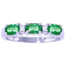 Gold ring with emeralds and diamonds - Emerald rings