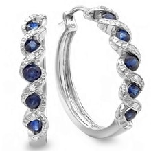 SILVER EARRINGS WITH SAPPHIRES AND DIAMONDS - SAPPHIRE EARRINGS - EARRINGS