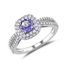White gold ring with white diamonds and tanzanite - Halo engagement rings
