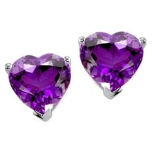 EARRINGS IN WHITE GOLD WITH AMETHYST - AMETHYST EARRINGS - EARRINGS