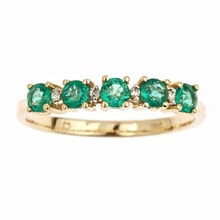 RING OF GOLD WITH EMERALDS AND DIAMONDS - GOLD RINGS - RINGS