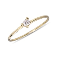 Diamond engagement ring in 14kt gold - Yellow Gold Rings