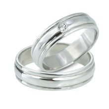 Wedding rings in white gold with diamonds - White gold wedding rings