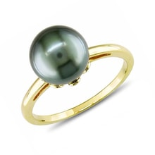 Tahitian pearl ring in 14kt yellow gold - Tahitian Pearls Jewellery