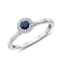 Ring of white gold with sapphire and diamonds - Sapphire rings