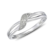 STERLING SILVER DIAMOND RING - DIAMOND RINGS - RINGS