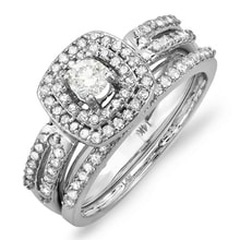 SET AN ENGAGEMENT AND WEDDING RING IN WHITE GOLD - WHITE GOLD RINGS - RINGS