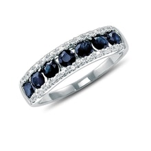 Fairytale sterling silver ring with blue sapphire and white topaz - Sapphire rings