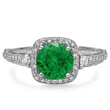 GOLDEN RING WITH EMERALD AND WHITE DIAMONDS - EMERALD RINGS - RINGS